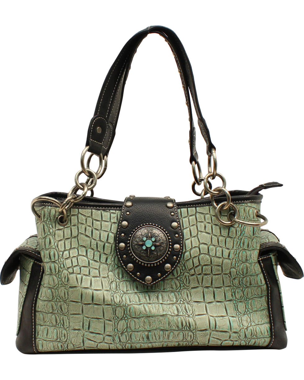 Blazin Roxx Women's Turquoise Croc Print Concho Satchel Bag, Turquoise, hi-res