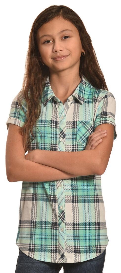 Derek Heart Girls' Blue Short Sleeve Button Down Shirt, Blue, hi-res