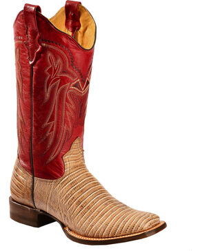 Roper Lizzy Faux Teju Lizard Cowgirl Boots - Square Toe, Tan, hi-res