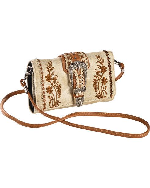 Wear N.E. Wear Women's Beige Buckle Organizer Wallet Crossbody Bag, Beige/khaki, hi-res