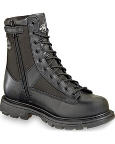 "Thorogood Men's 8"" Waterproof Side-Zip Trooper Boots - Soft Toe, Black, hi-res"