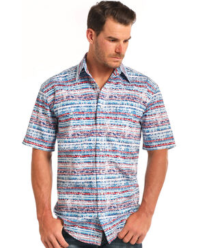 Rough Stock by Panhandle Men's Simeon Aztec Print Short Sleeve Shirt, Blue, hi-res