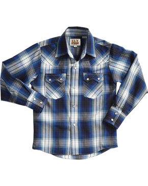 Ely Cattleman Boys' Blue Textured Plaid Long Sleeve Shirt , Teal, hi-res