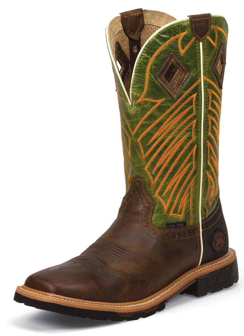 Justin Men's Derrickman Tan Work Boots - Steel Toe, Tan, hi-res