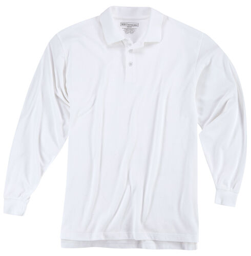 5.11 Tactical Professional Long Sleeve Polo Shirt, White, hi-res