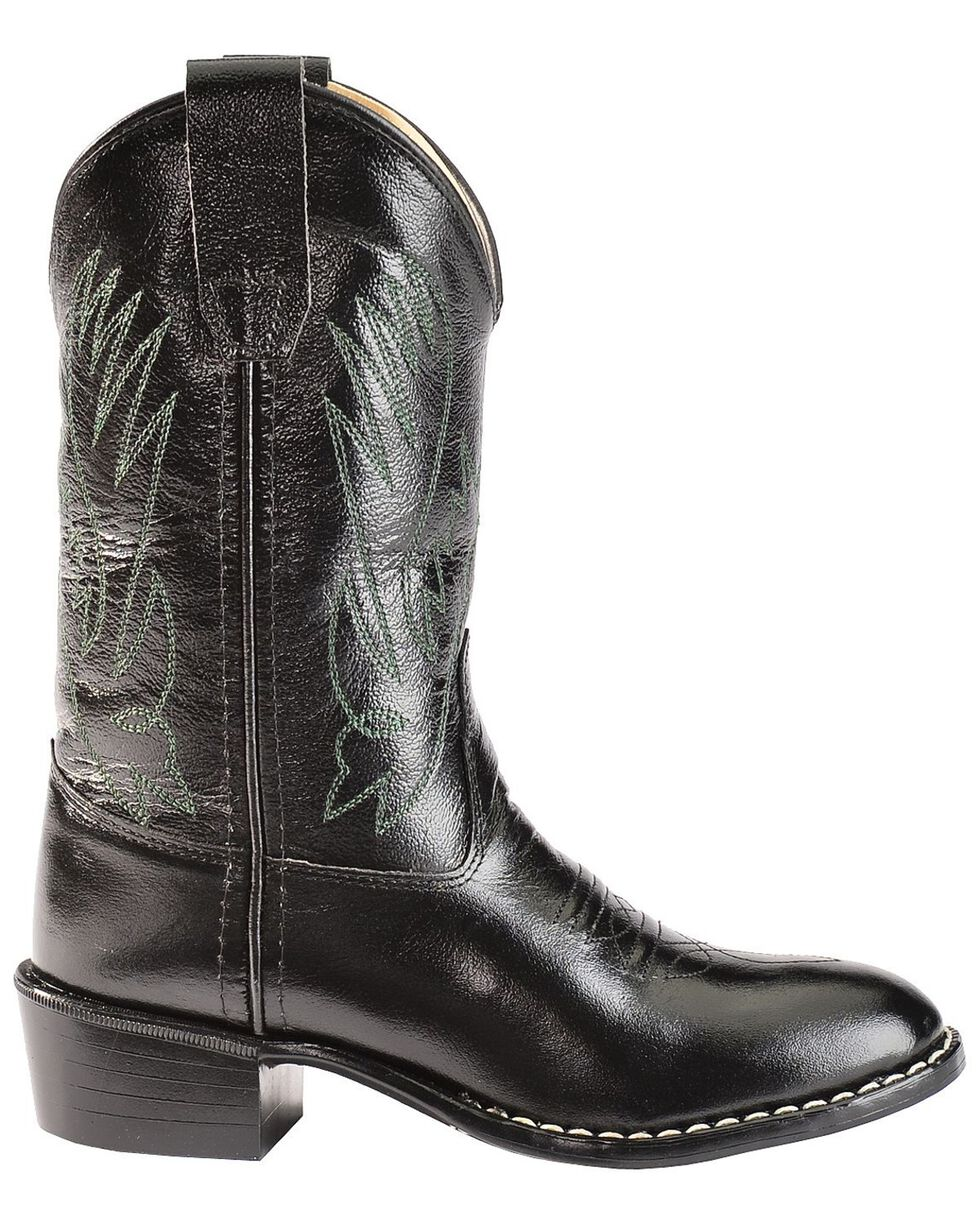 Old West Youth Boys' Western Cowboy Boots - Round Toe, Black, hi-res