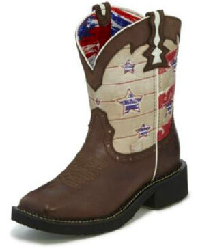 Justin Women's Barley Buffalo Western Boots - Wide Square Toe, Brown, hi-res