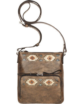 American West Brown Native Sun Crossbody Bag, Brown, hi-res