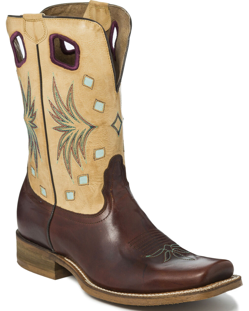 Nocona Men's Two Tone Diamond Inlay Cowboy Boots - Square Toe, , hi-res