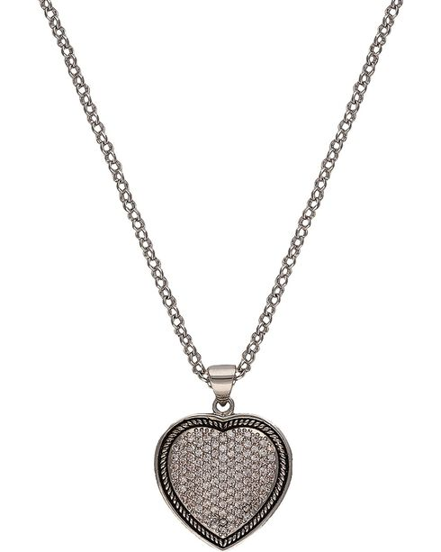 Montana Silversmiths Beaded Pave Heart Necklace, Silver, hi-res