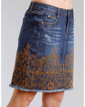 Stetson Women's Embroidered 5 Pocket Denim Skirt, Indigo, hi-res