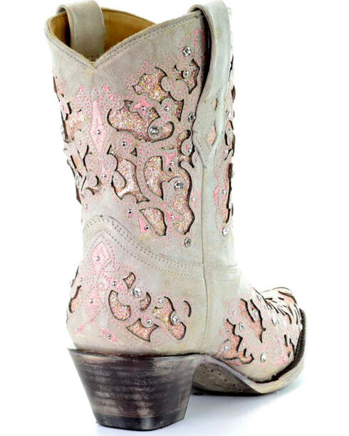 Corral Women's Metallic Pink Glitter Inlay & Crystals Ankle Boots - Snip Toe, White, hi-res