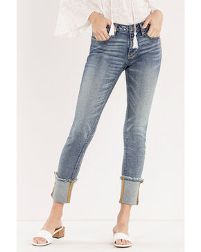 Miss Me Women's Cuffing Season Mid-Rise Ankle Skinny Jeans , Blue, hi-res