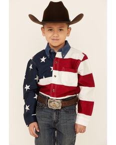Roper Boys' Stars and Stripes American Flag Print Long Sleeve Snap Western Shirt , Red, hi-res