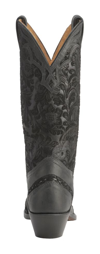 Boulet Women's Midnight Tooled Western Boots - Snip Toe, Black, hi-res