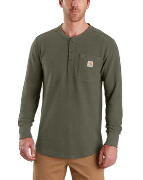 Carhartt Men's Tilden Long-Sleeve Henley Tee - Big, Moss Green, hi-res