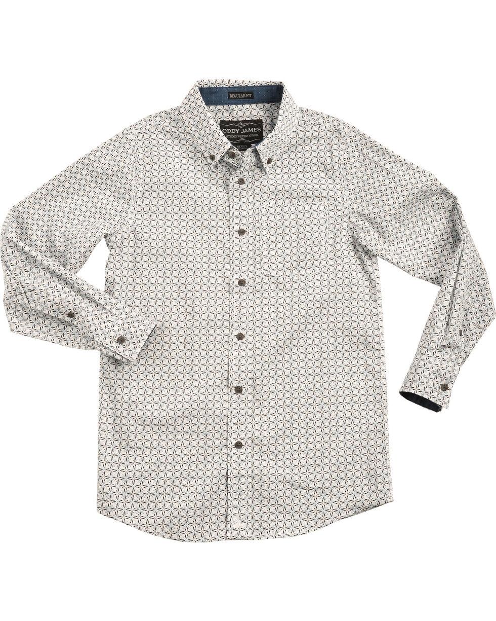 Cody James Boys' Starburst Patterned Long Sleeve Shirt, , hi-res