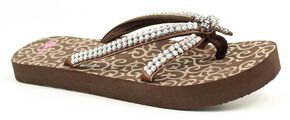 Blazin Roxx Hayley Cross Flip Flops, Brown, hi-res