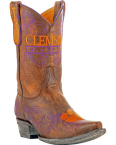 Gameday Women's Clemson University Cowgirl Boots - Snip Toe, Brass, hi-res