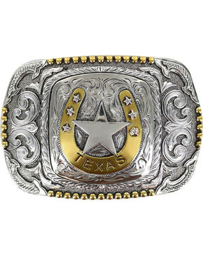 Cody James Men's Silver Horseshoe Texas Belt Buckle , Silver, hi-res