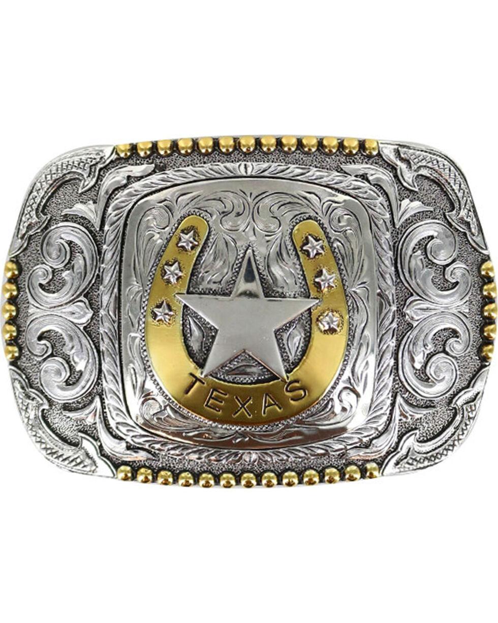 Cody James Men's Silver Horseshoe Texas Belt Buckle , Silver, hi-res