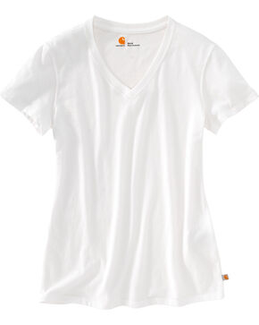 Carhartt Women's Lockhart V-Neck Tee, White, hi-res