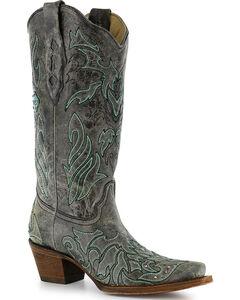 Corral Women's Cross & Crystals Western Boots - Snip Toe , Black, hi-res