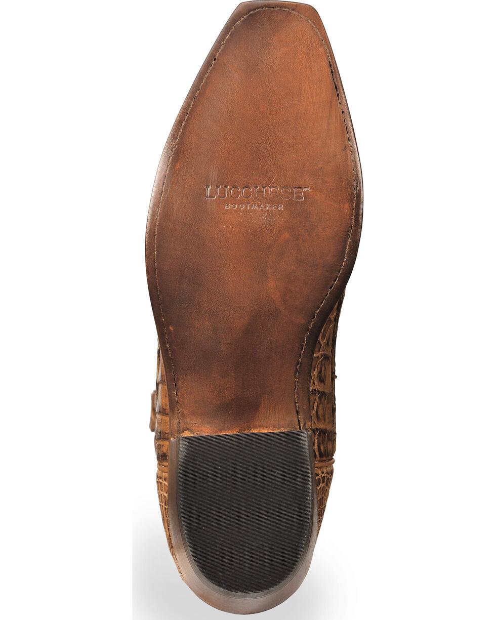 Lucchese Men's Handmade Tan Franklin Hornback Caiman Tail Boots - Narrow Square Toe , Tan, hi-res