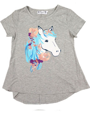 Shyanne Girls' Graphic Glitter Horse Tee, Purple, hi-res
