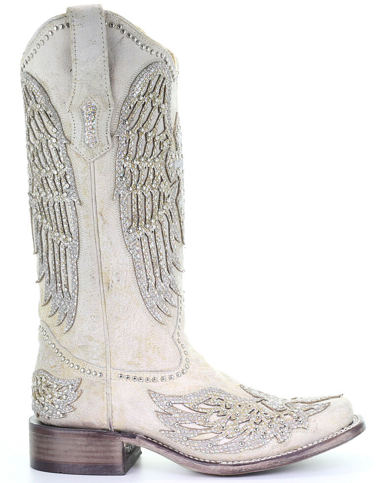 Corral Women's White Cross & Wings Western Boots - Square Toe, White, hi-res