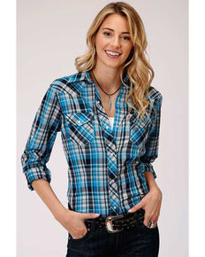 Karman Women's Blue Plaid Long Sleeve Snap Western Shirt  , Blue, hi-res