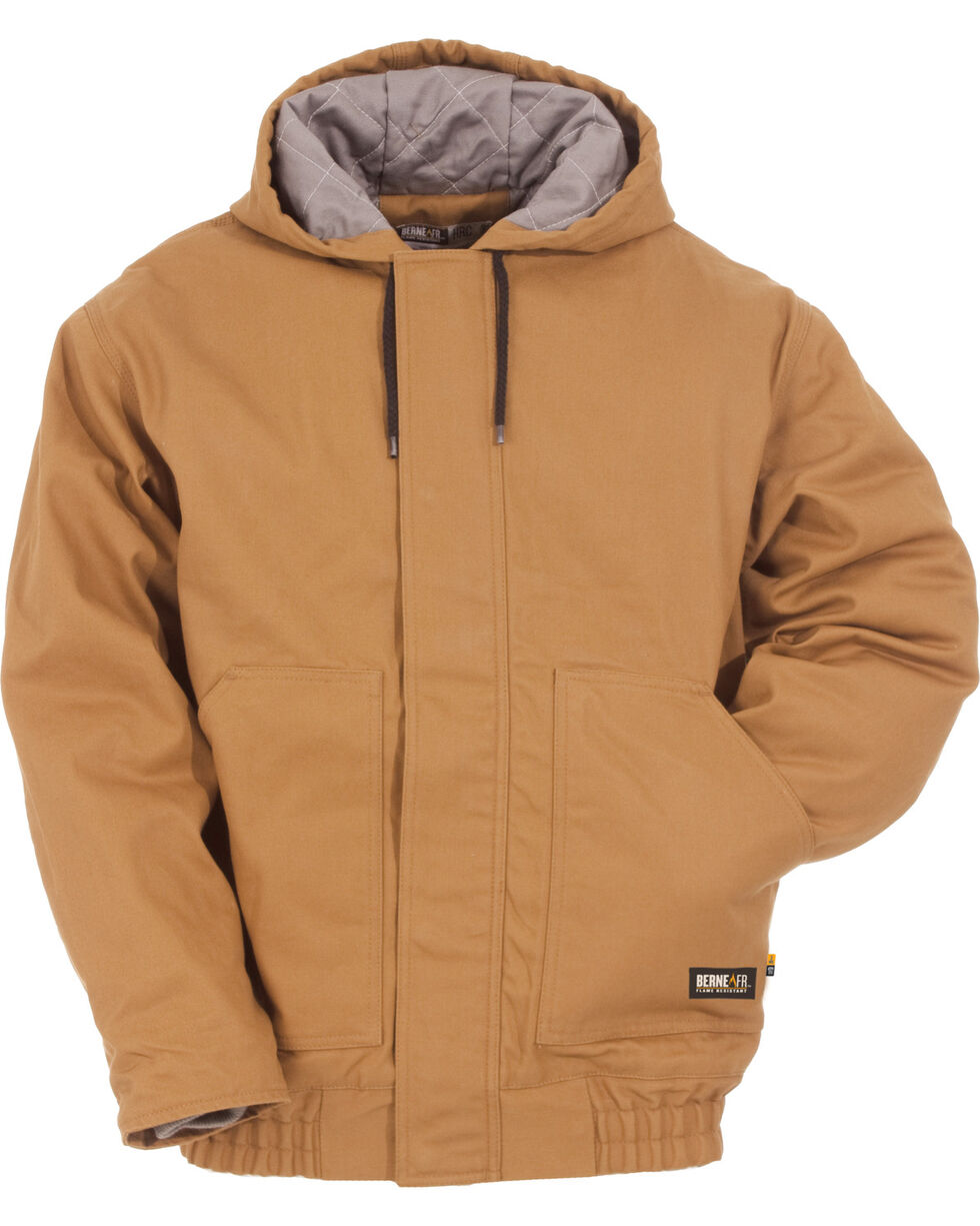 Berne Flame Resistant Hooded Jacket - 3XL and 4XL, Brown, hi-res