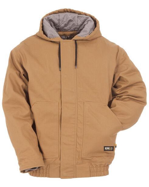 Berne Brown Duck Flame Resistant Hooded Jacket, Brown, hi-res