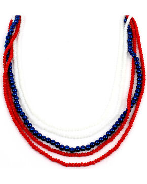 Ethel & Myrtle Six-Strand Red, White, and Blue Beaded Necklace, Am Spirit, hi-res