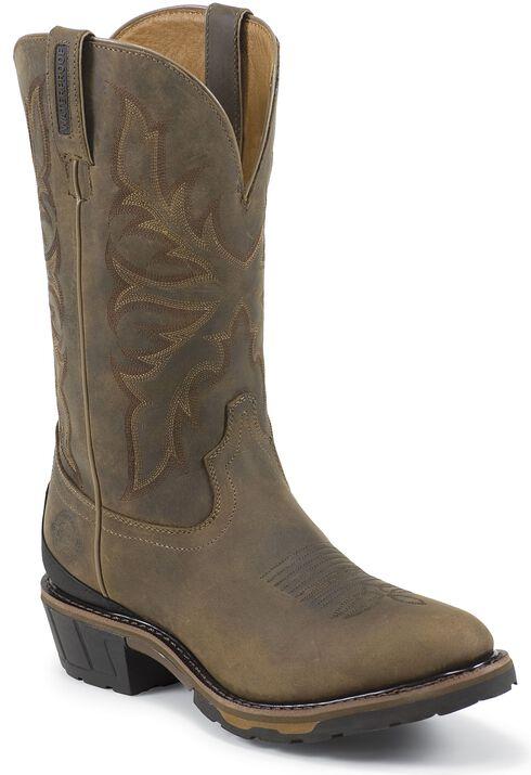 Justin Original Waterproof Bay Apache Pull-On Work Boots - Round Toe, Bay Apache, hi-res