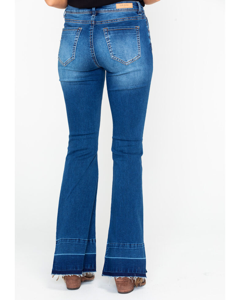 Grace In LA Women's Light Mid Rise Trouser Jeans , Blue, hi-res