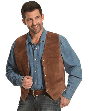 Roper Suede Vest, Brown, hi-res