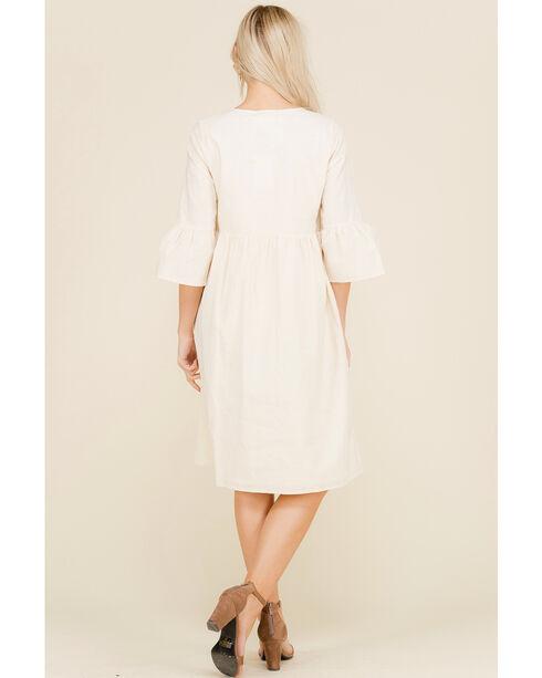 Polagram Women's Embroidered Front Yolk 3/4 Sleeve Dress, Natural, hi-res