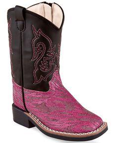 Old West Toddler Girls' Hot Pink Western Boots - Wide Square Toe, Pink/black, hi-res