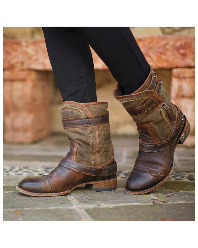 Lane Women's Dustoff Western Booties - Round Toe, Brown, hi-res
