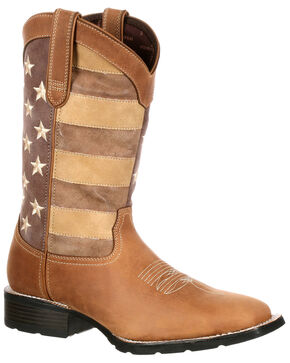 Durango Men's Mustang Faded Glory Western Boots - Wide Square Toe, Distressed Brown, hi-res