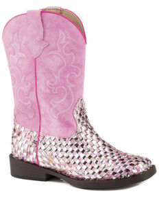 Roper Girl's Glitter Western Braid Cowgirl Boots - Square Toe, Pink, hi-res