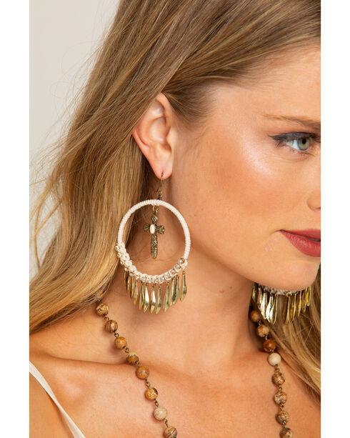 Shyanne Women's Adilene Cross Dangle Fringe Hoop Earrings, Gold, hi-res