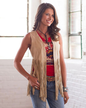 Ryan Michael Women's Opal Leather Fringe Vest , Cream, hi-res
