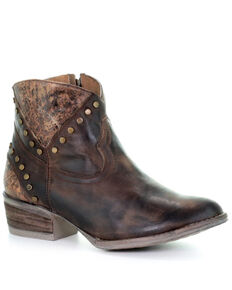 Circle G Women's Golden Studded Fashion Booties - Snip Toe, Gold, hi-res