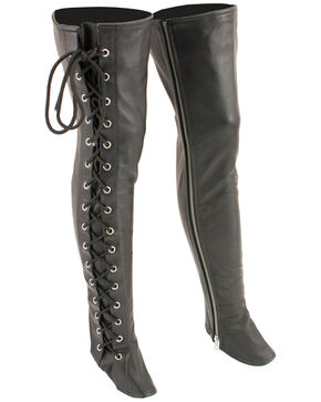 Milwaukee Leather Women's Thigh High Side Lace Leggings - 4X, Black, hi-res