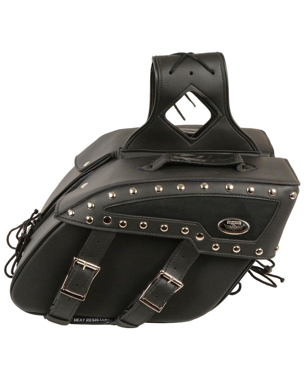 Milwaukee Leather Medium Zip-Off Studded PVC Slanted Throw Over Saddle Bag, Black, hi-res