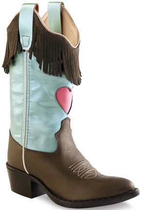 Old West Girls' Fringe Cowgirl Boots - Round Toe, Brown, hi-res