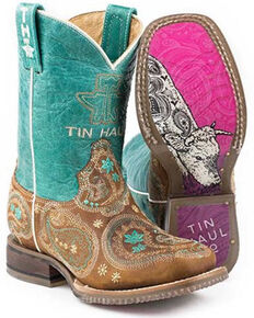Tin Haul Girls' Pretty Paisley Western Boots - Square Toe, Tan, hi-res