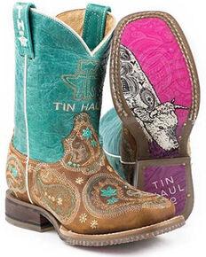 Tin Haul Girls' Pretty Paisley Western Boots - Square Toe, Tan, hi-res